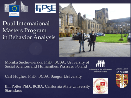 Dual International Masters Program in Behavior Analysis