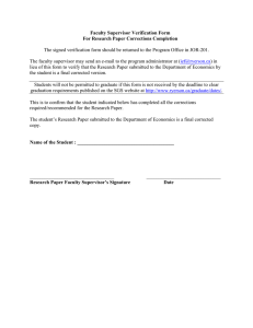 Faculty Supervisor Verification Form For Research Paper