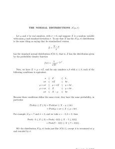 THE NORMAL DISTRIBUTIONS N(µ, σ) Let µ and σ be real numbers