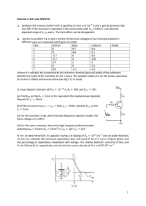 Exercise 2: BJTs and MOSFETs 1. (problem 4.9 in Sedra