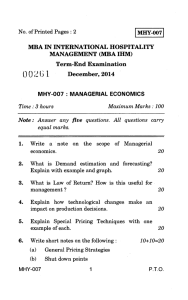 MHY-007 No. of Printed Pages : 2 MBA IN INTERNATIONAL
