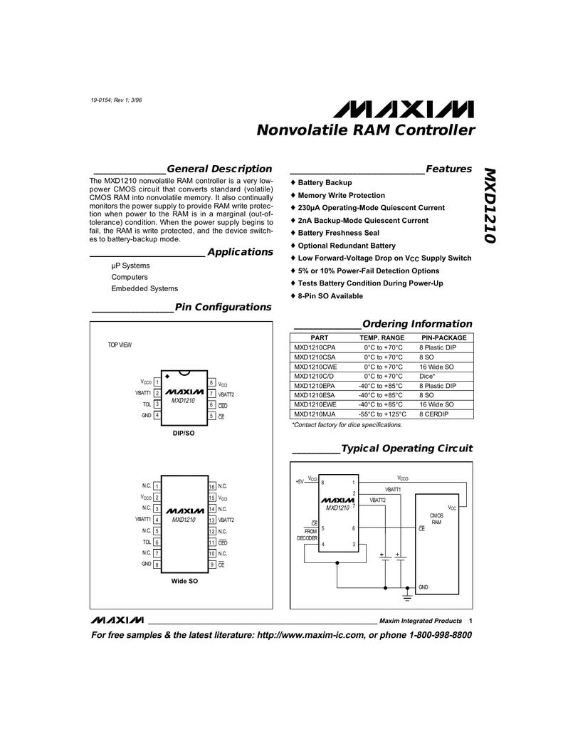 Mxd1210 Nonvolatile Ram Controller Battery Backup Circuit