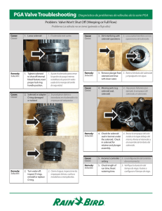 Problem: Valve Won`t Shut Off (Weeping or Full Flow) PGA Valve