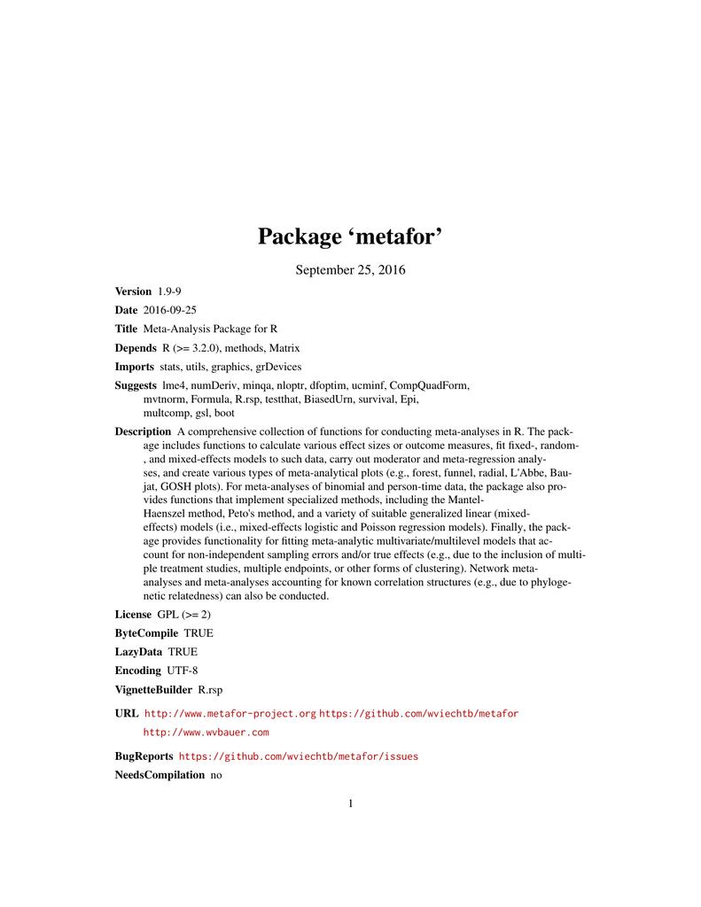 Package `metafor`