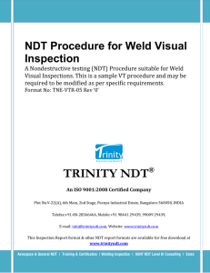 NDT Procedure for Weld Visual Inspection