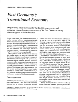 East Germany`s Transitional Economy