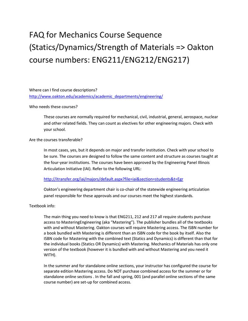 FAQ for Mechanics Course Sequence (Statics/Dynamics/Strength of