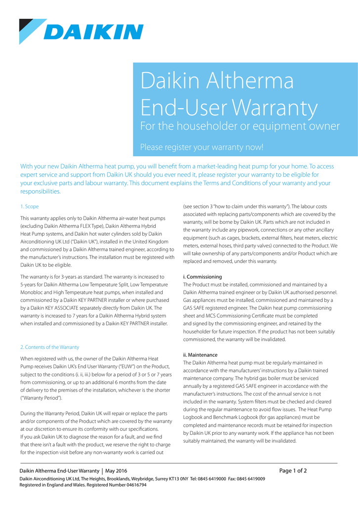 To view our full Daikin Altherma warranty please click