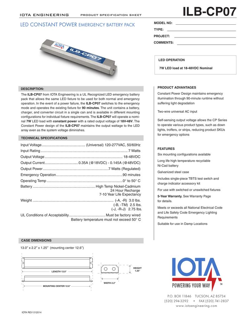 Ilb Cp07 Architectural Star Lighting Iota Emergency Ballast Wiring Diagram