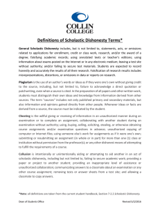 Collin College`s Definitions of Scholastic Dishonesty Terms