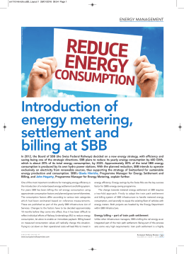 Introduction of energy metering, settlement and billing at SBB