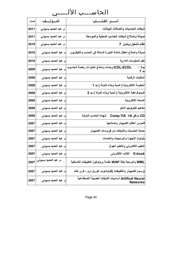 قائمة الكتب pdf