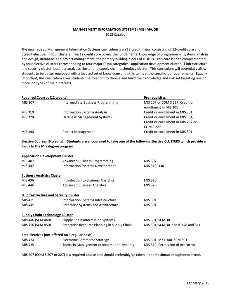 MIS Major Requirements 2015-2016