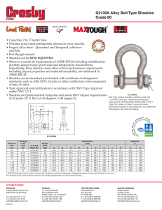 G2130A Alloy Bolt Type Shackles Grade 80