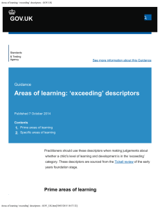 Areas of learning: `exceeding` descriptors - GOV.UK