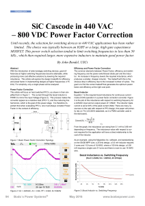 SiC Cascode in 440 VAC – 800 VDC Power Factor Correction
