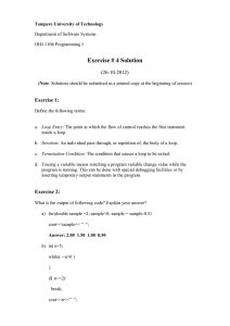 Exercise # 4 Solution