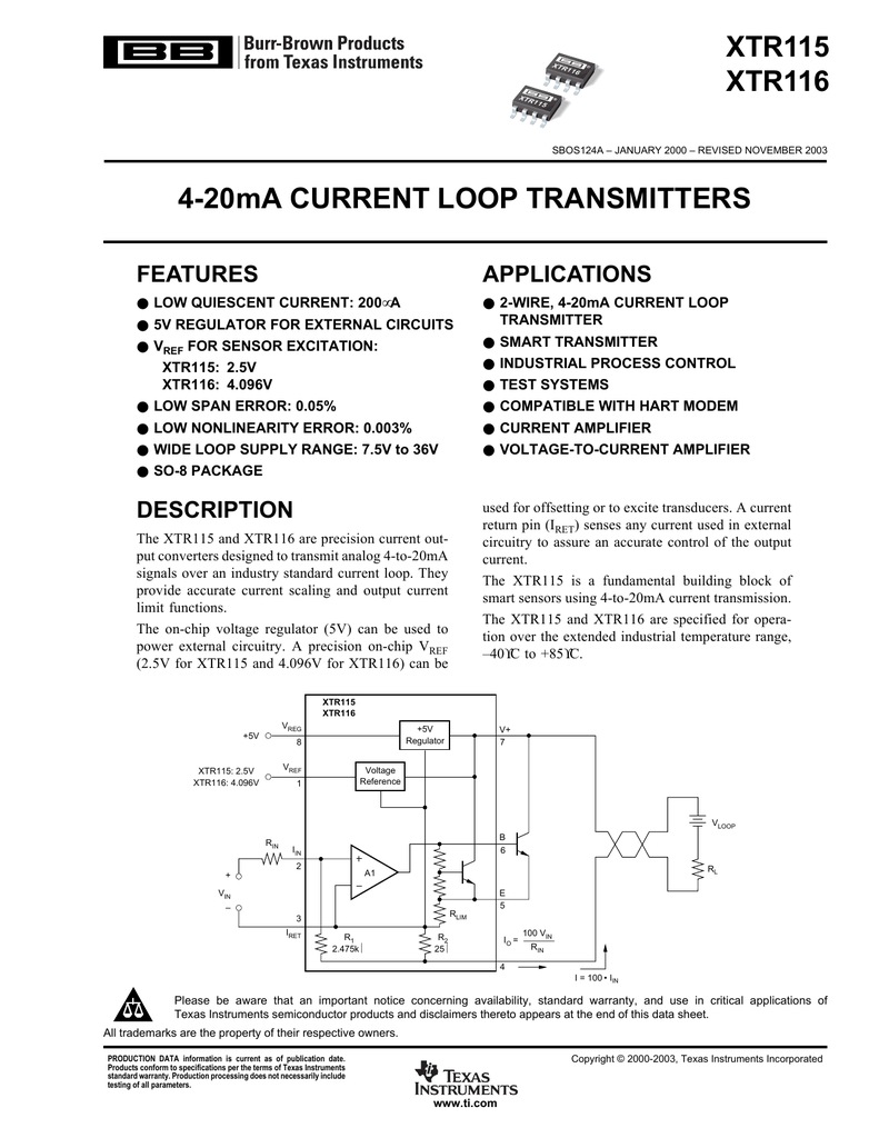 Xtr115 Xtr116 4 20ma Current Loop 2wire Wiring Diagram T1