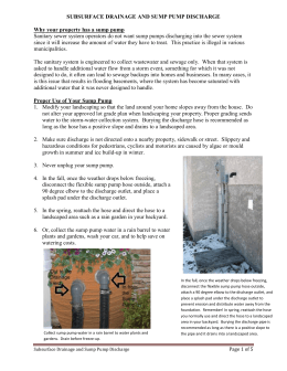 SUBSURFACE DRAINAGE AND SUMP PUMP DISCHARGE Why