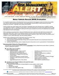 Motor Vehicle Record (MVR) Evaluation