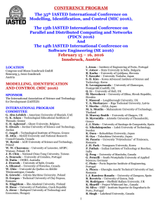 CONFERENCE PROGRAM The 35th IASTED International