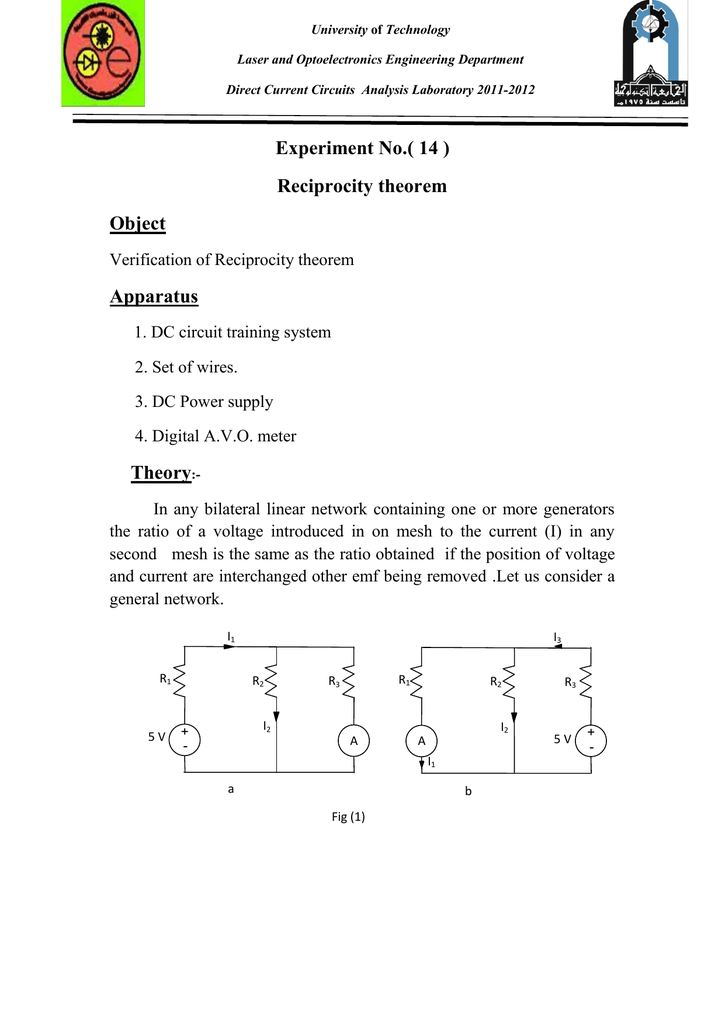experiment no ( 14 ) reciprocity theorem object apparatus theoryEce 201l Circuit Analysis Laboratory #14