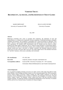 verified trust: reciprocity, altruism, and - HEC Lausanne