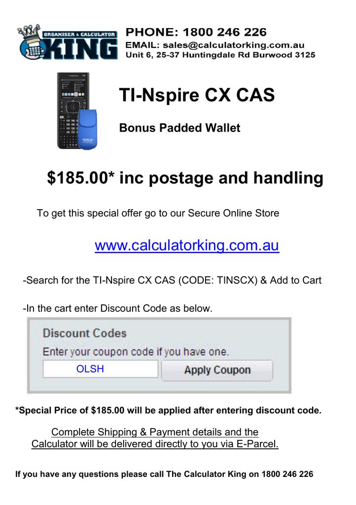 TI-Nspire CX CAS $185