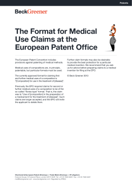 The Format for Medical Use Claims at the European