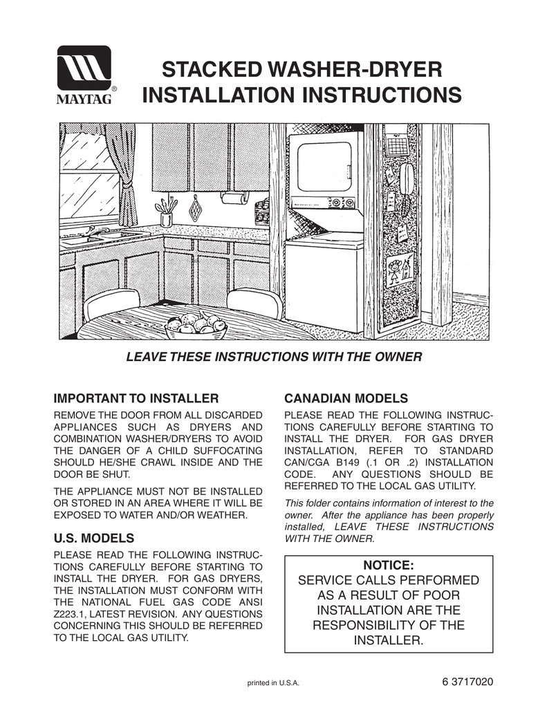 Stacked Washer Dryer Installation Instructions 220 Volt Electric Wiring Diagram Blow Drying