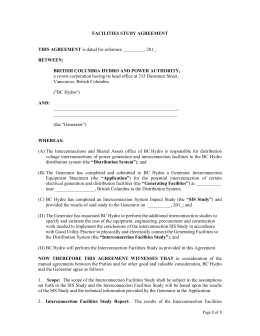 FACILITIES STUDY AGREEMENT THIS AGREEMENT is dated for