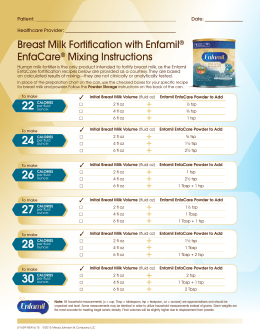 Breast Milk Fortification with Enfamil® EnfaCare® Mixing Instructions