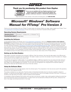 Microsoft® Windows® Software Manual for FITstep™ Pro Version 3