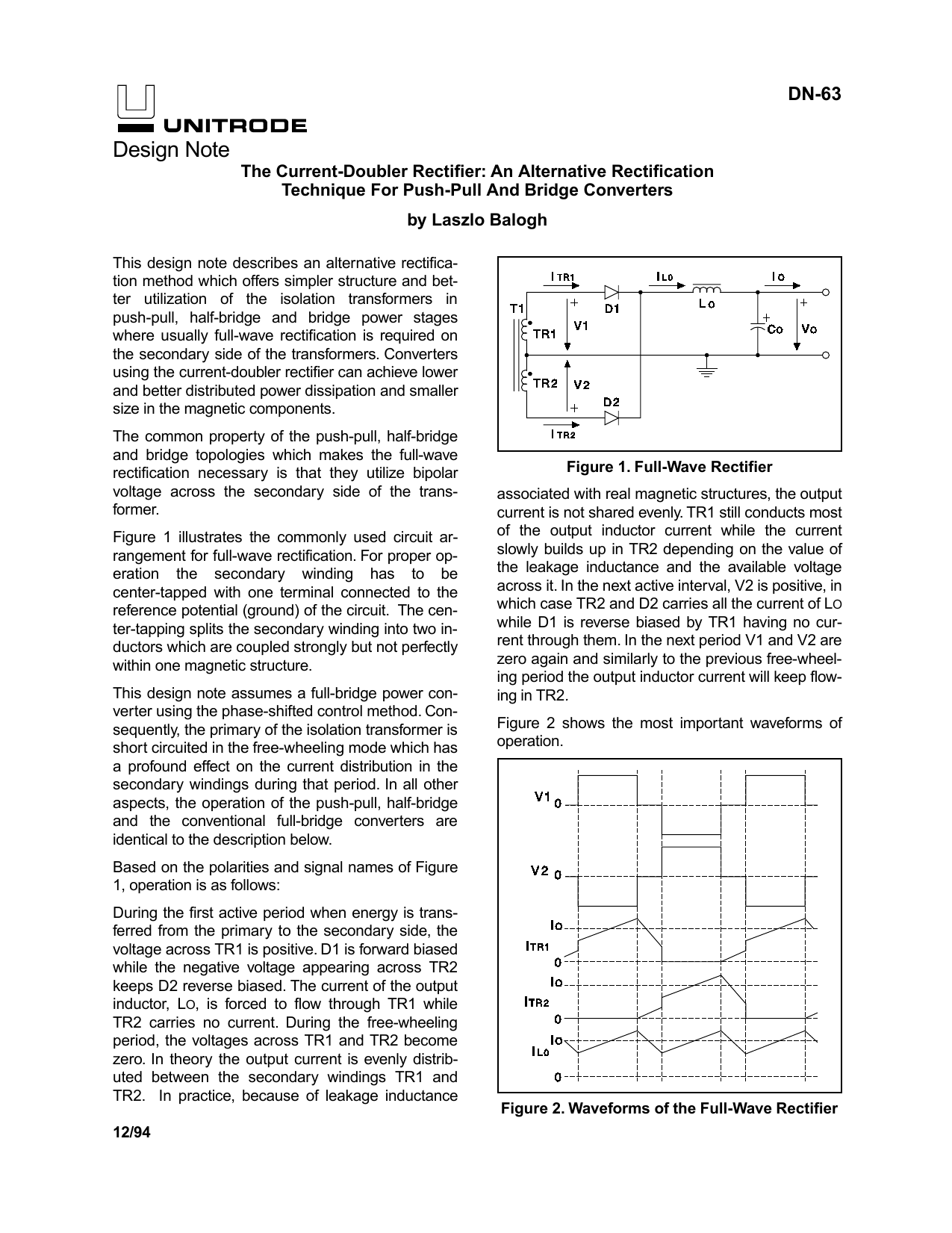 Dn 63 The Current Doubler Rectifier An Alternative Rectification Comparison Between Half Wave And Full Voltage Doublers