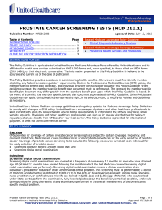 Prostate Cancer Screening Tests (NCD 210.1)