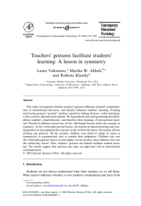 Teachers` gestures facilitate students` learning