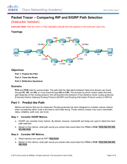 Packet Tracer – Comparing RIP and EIGRP Path Selection