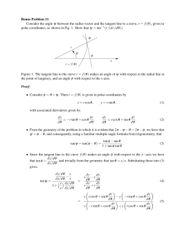 Consider the angle ψ between the radius vector and the tangent line