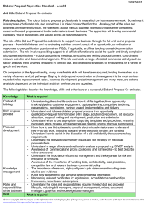 Apprenticeship standard for a bid and proposal co-ordinator