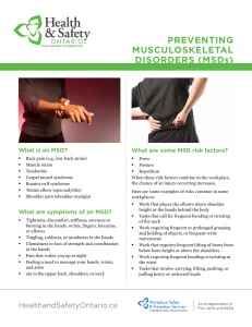 Preventing MuSculoSkeletal DiSorDerS (MSDs)