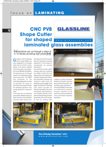 CNC PVB Shape Cutter for shaped laminated glass assemblies