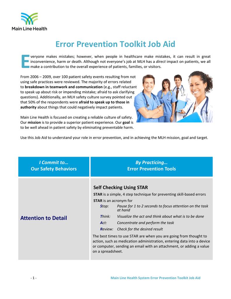 Error Prevention Toolkit Job Aid