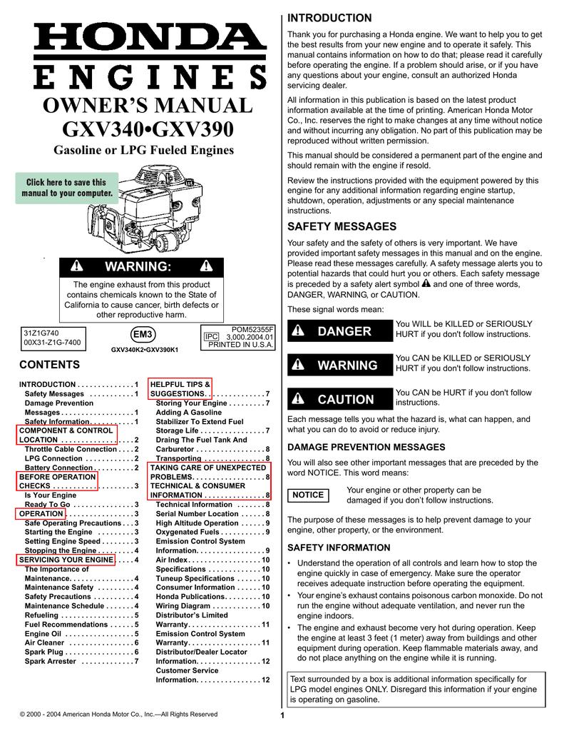 Strange Owner S Manual Gxv340Gxv390 Wiring Digital Resources Xeirawoestevosnl
