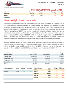 Market Comment 19.08.2015 Heavy weight losses dominate…
