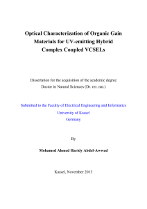 Optical Characterization of Organic Gain Materials for UV