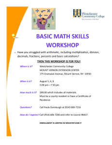 basic math skills workshop - Westchester Community College