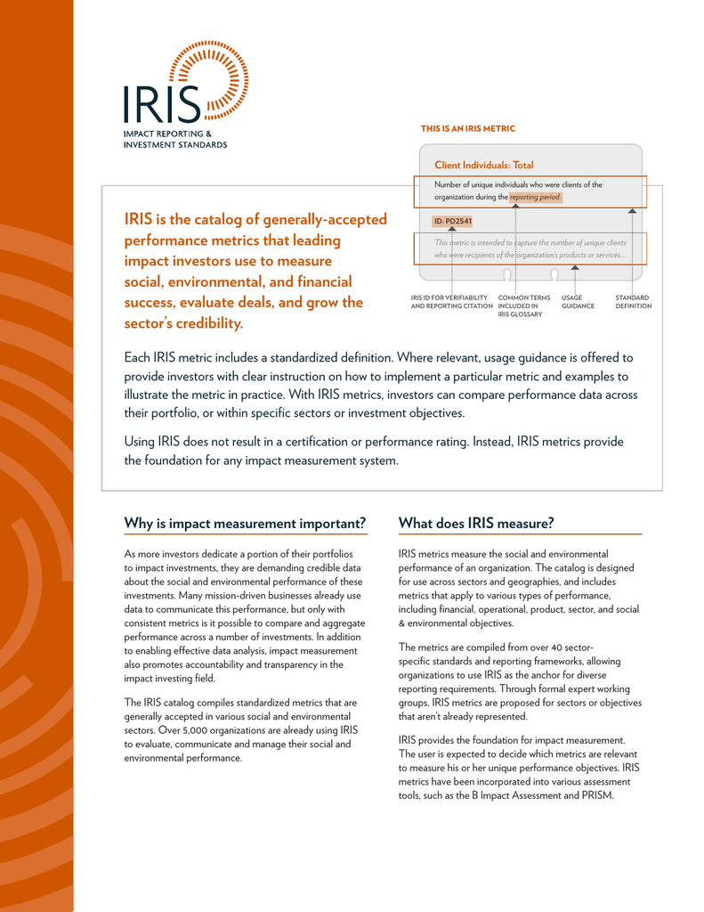 IRIS is the catalog of generally-accepted performance