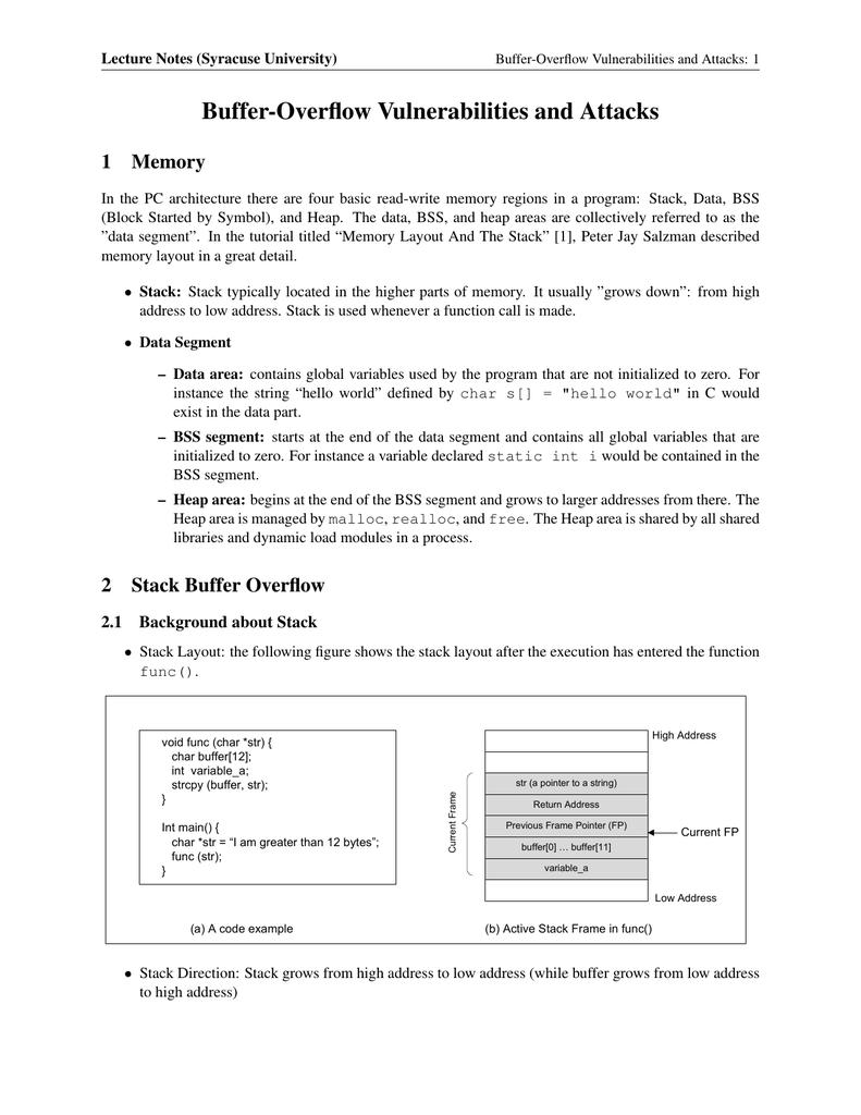Buffer-Overflow Vulnerabilities and Attacks