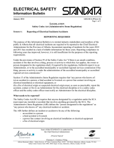 Reporting of Electrical Incidents/Accidents LEG-SCA-59