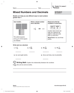 Mixed Numbers and Decimals